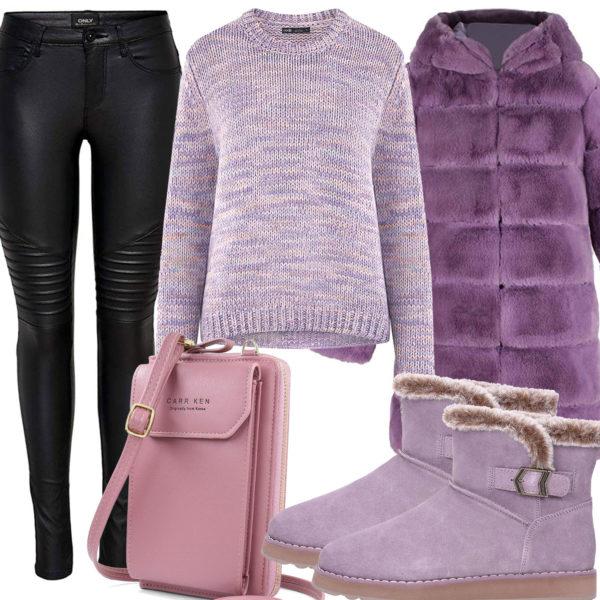 Altrosa-Lila Damenoutfit mit warmer Jacke