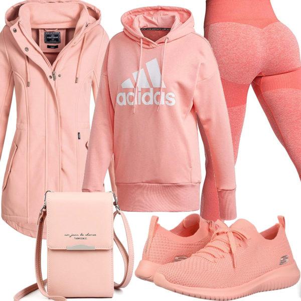 Apricot Damenoutfit mit Leggings, Hoodie und Sneakern