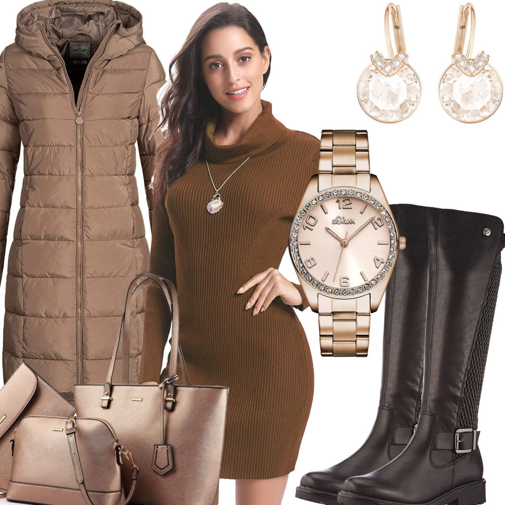 Beige-Braunes Frauenoutfit mit Strickkleid und Steppmantel
