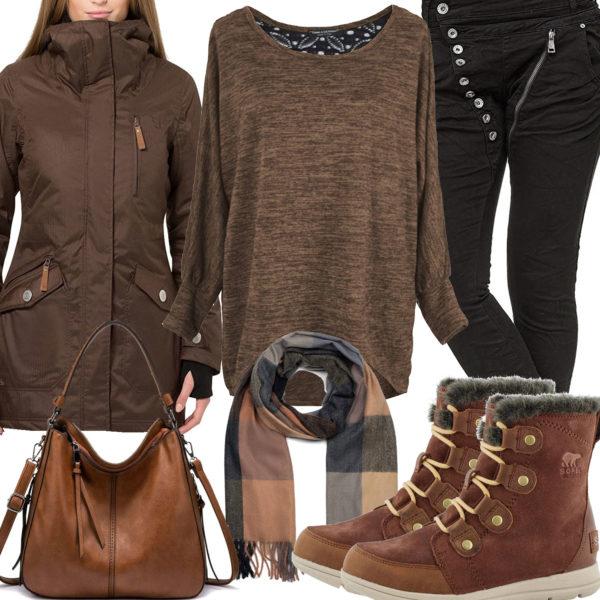 Braun-Schwarzes Frauenoutfit mit Pullover, Jacke und Jeans