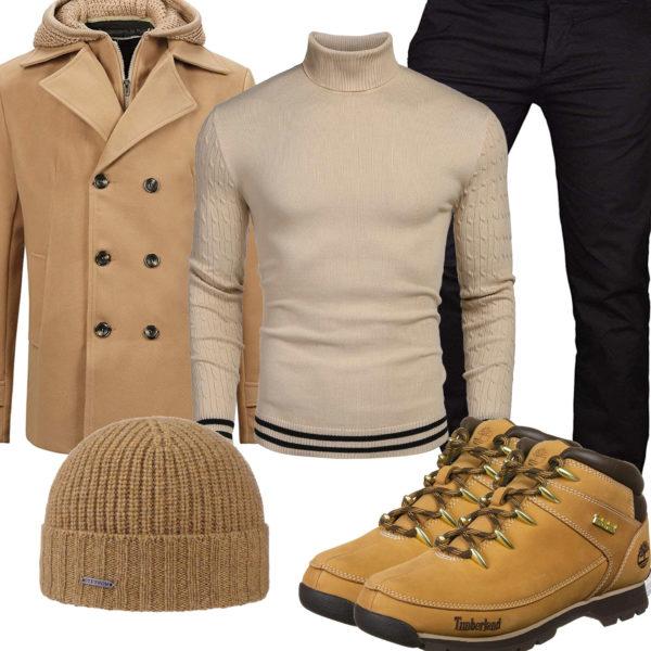 Beiges Herrenoutfit mit Pullover, Parka und Stiefeln