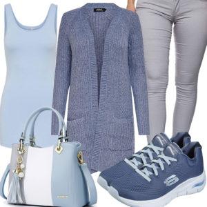 Blau-Graues Frauenoutfit mit Strickjacke und Top