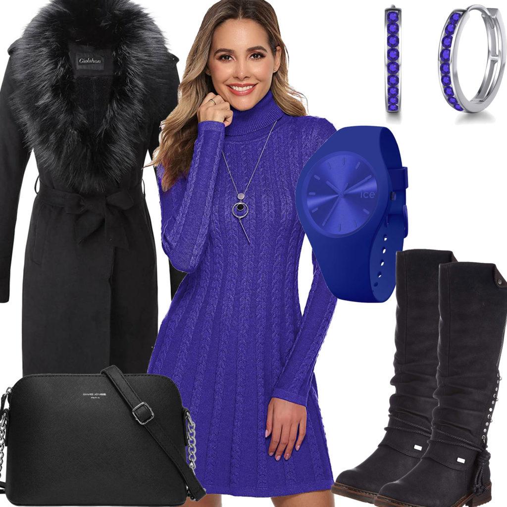 Schwarz-Violettes Frauenoutfit mit Mantel, Kleid und Ohrringen