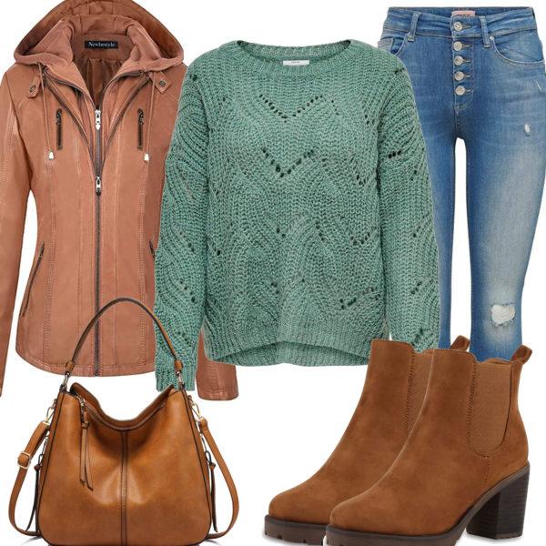 Frauenoutfit mit brauner Lederjacke, Handtasche und Stiefeln