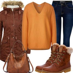 Braunes Damenoutfit mit Stiefeln, Tasche und Jacke