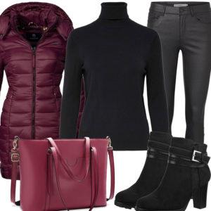 Winter-Damenoutfit in Schwarz und Brombeerrot