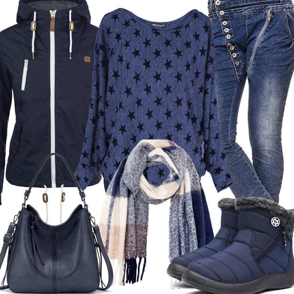 Dunkelblaues Frauenoutfit mit Schal und Stiefeln