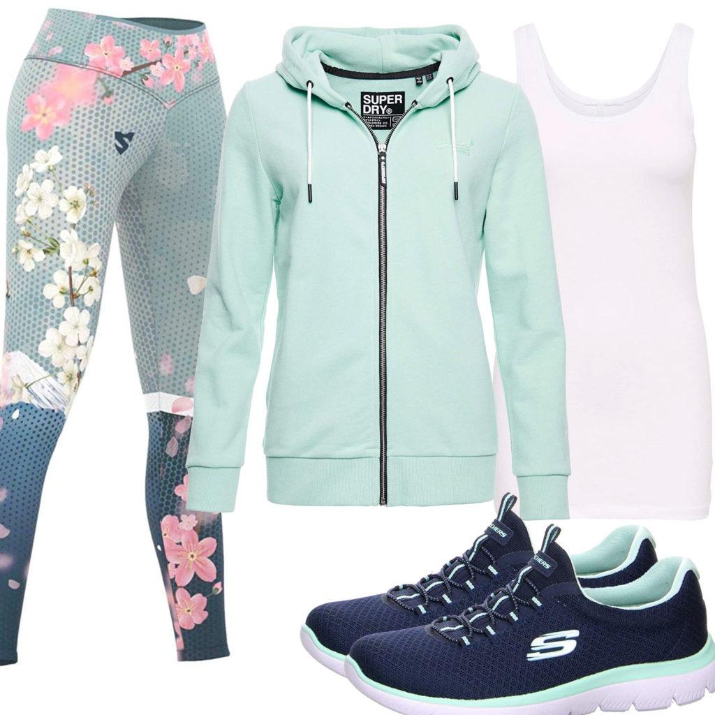 Sportliches Damenoutfit in Mintgrün und Blau