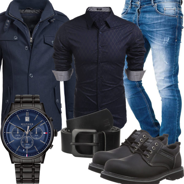 Blau-Schwarzer Style mit Hemd, Jeans und Wollmantel