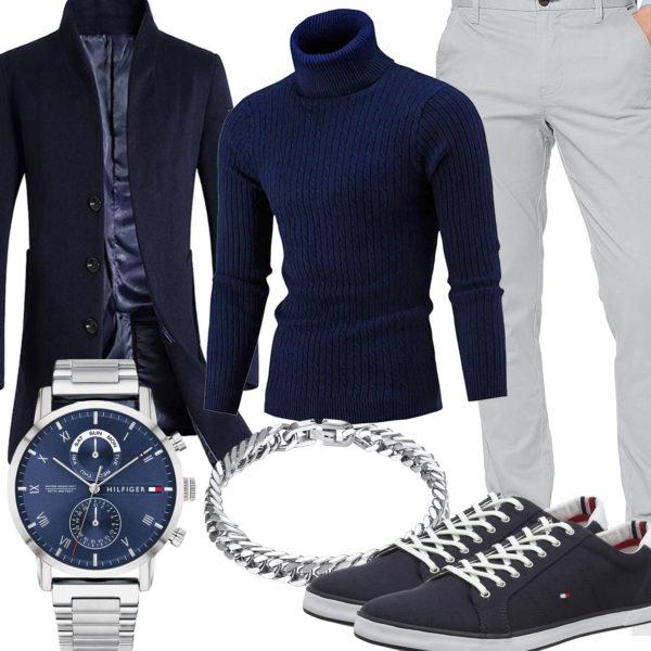 Herren-Style mit dunkelblauem Pullover und Wollmantel