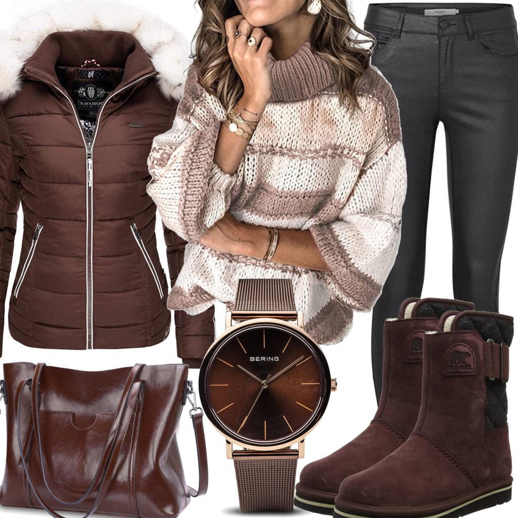 Dunkelbraunes Frauenoutfit mit Stiefeln und Jacke
