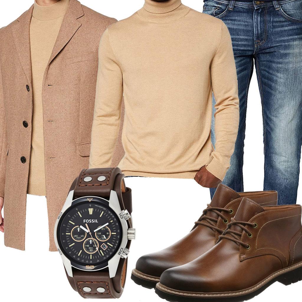 Business-Herrenoutfit mit beigem Pullover und Mantel