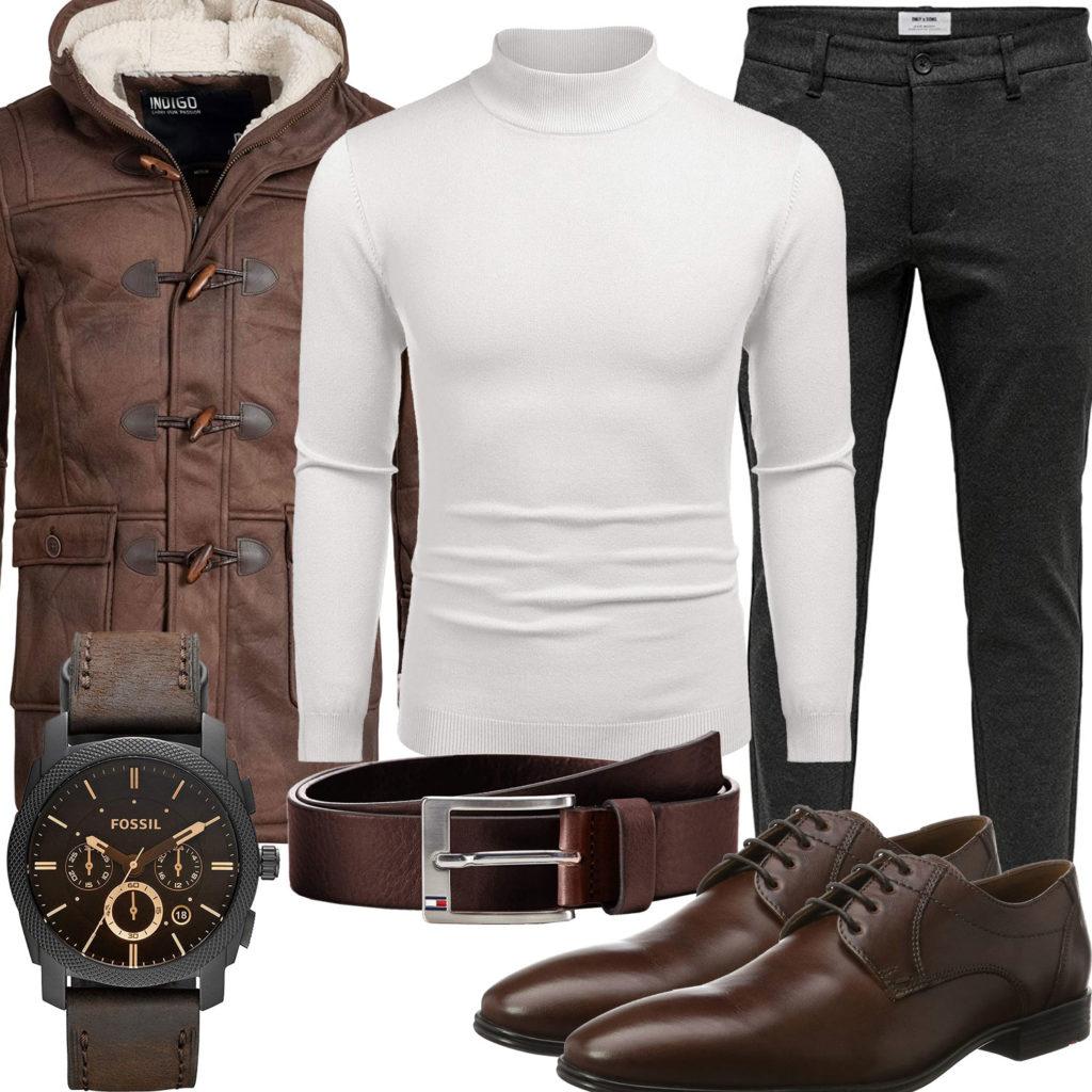 Braunes Herrenoutfit mit Parka, Uhr und Gürtel
