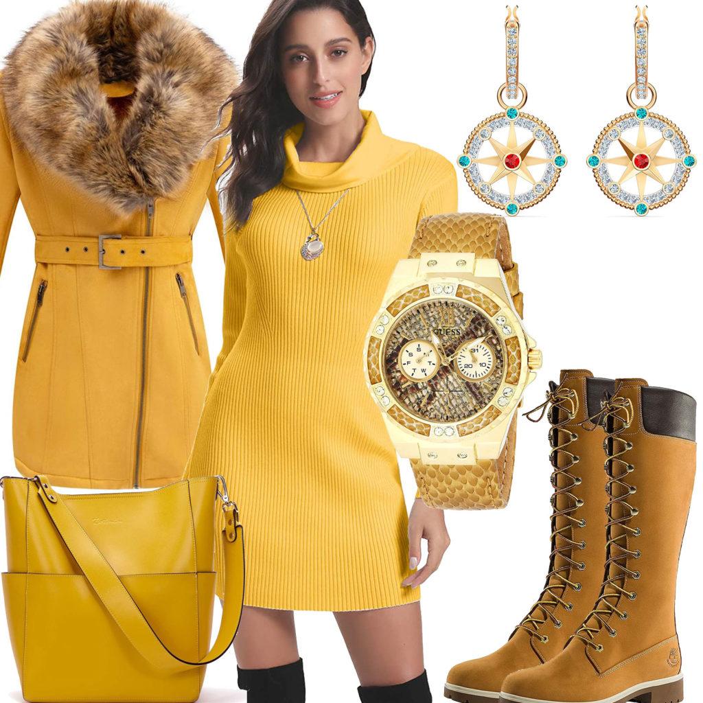 Gelbes Frauenoutfit mit Strickkleid, Tasche und Jacke