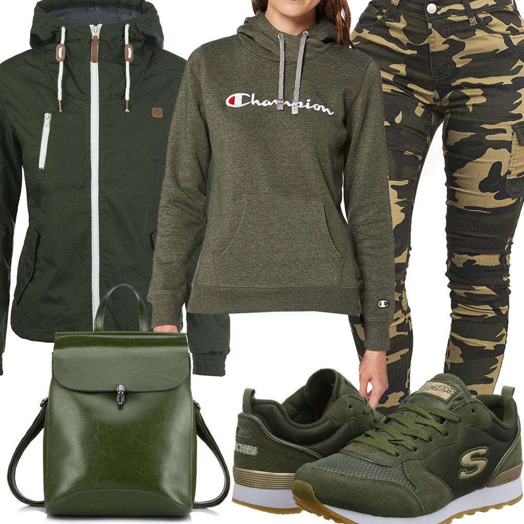 Grünes Frauenoutfit mit Jacke, Hoodie und Sneakern