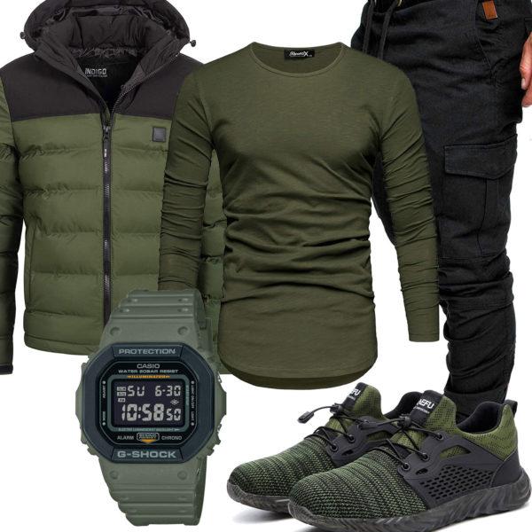 Grün-Schwarzes Herrenoutfit mit Steppjacke und Uhr