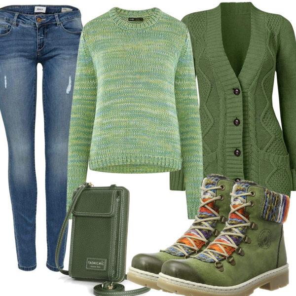 Grünes Frauenoutfit mit Strickjacke und Stiefeln