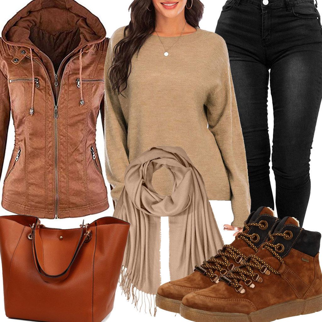Lässiges Frauenoutfit mit hellbrauner Lederjacke und Tasche