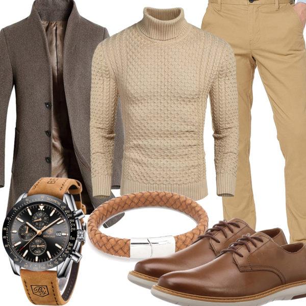 Beige-Braunes Herrenoutfit mit Wollmantel und Chino