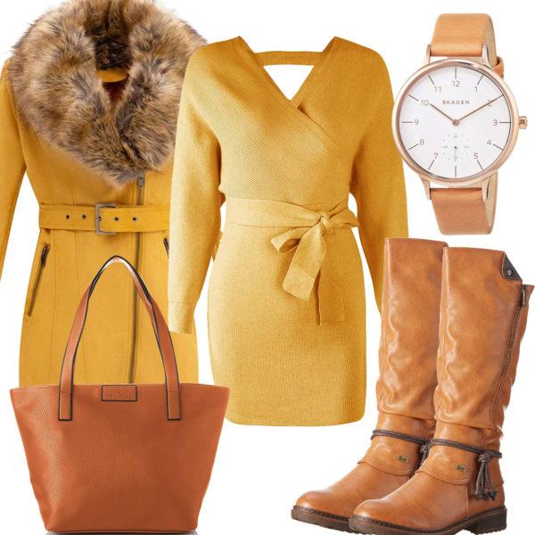 Gelb-Hellbraunes Frauenoutfit mit Strickkleid