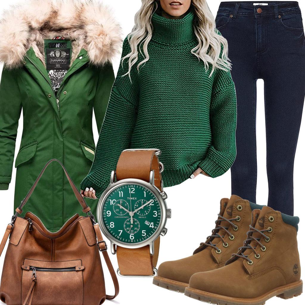 Grün-Braunes Frauenoutfit mit Pullover, Parka und Jeans