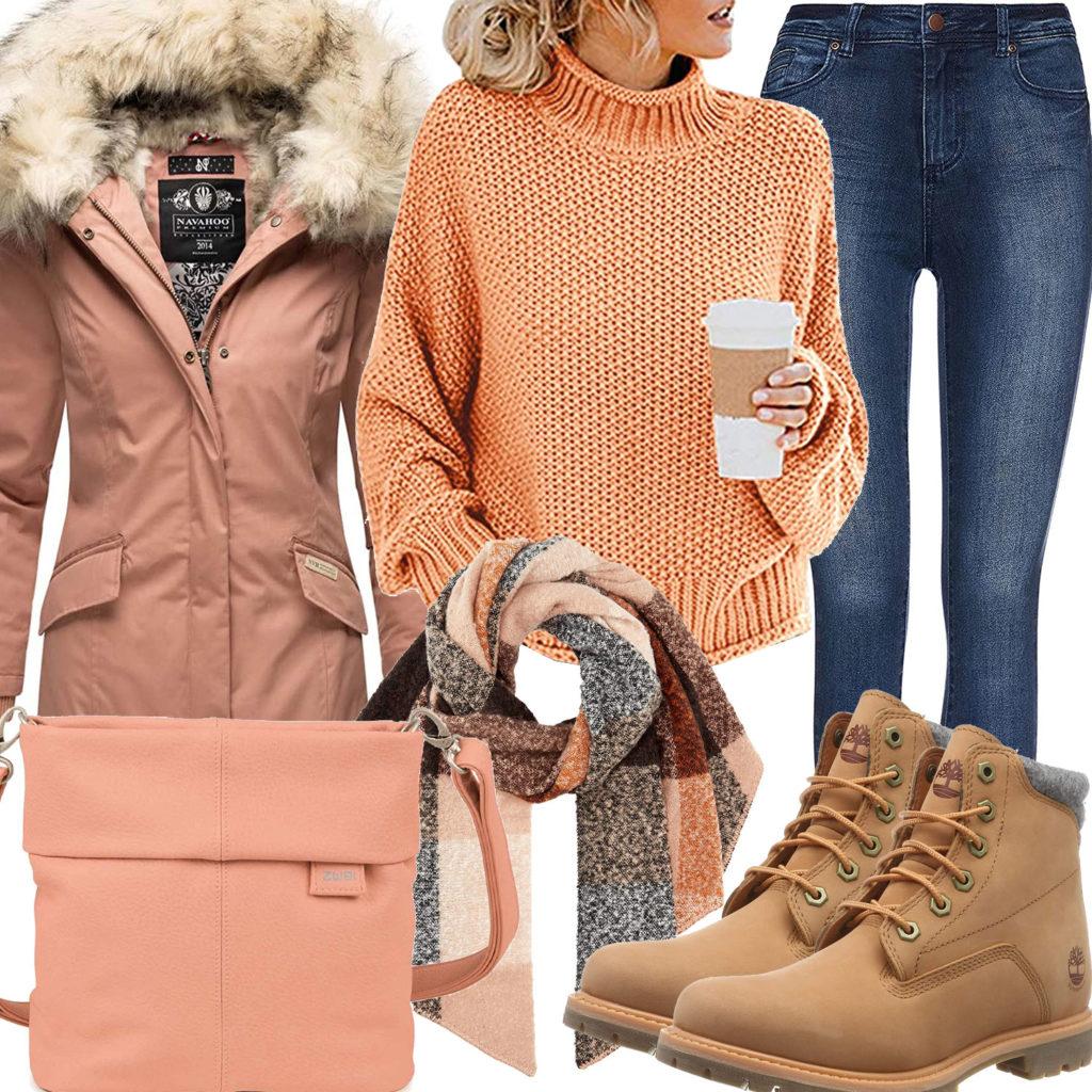 Winter-Frauenoutfit in Orange und Apricot