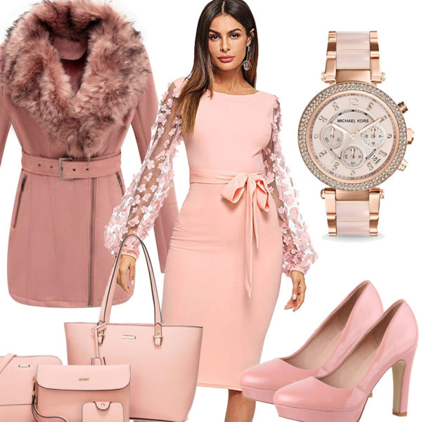 Apricot Damenoutfit mit Kleid, Pumps und Uhr