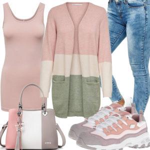 Rosa Frauenoutfit mit Strickjacke, Top und Handtasche