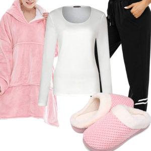 Homeoffice-Style mit rosa Hoodie und Hausschuhen