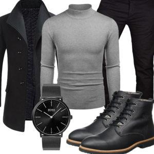 Schwarze Business-Style mit Mantel und Stiefeln
