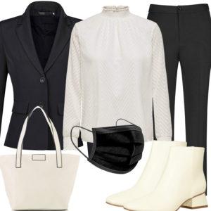 Schwarz-Creme Damenoutfit mit Bluse und Anzug