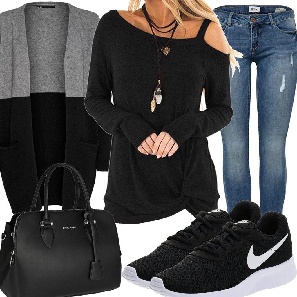Damenoutfit mit schwarzer Tasche und Nike's