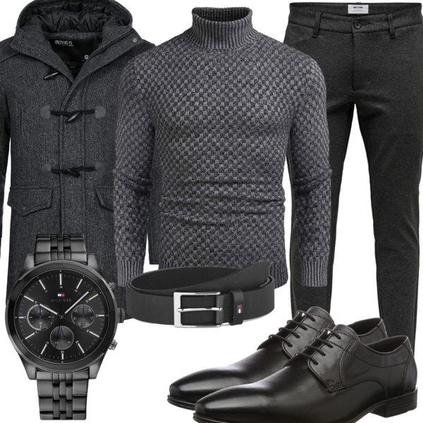 Grau-Schwarzes Herrenoutfit mit Mantel und Pullover