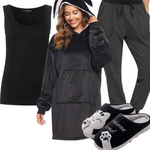 Schwarz-Graues Damenoutfit mit Hoodie und Jogginghose