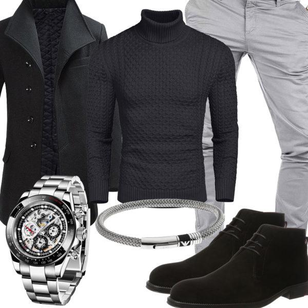 Schwarz-Graues Herrenoutfit mit Uhr und Armband