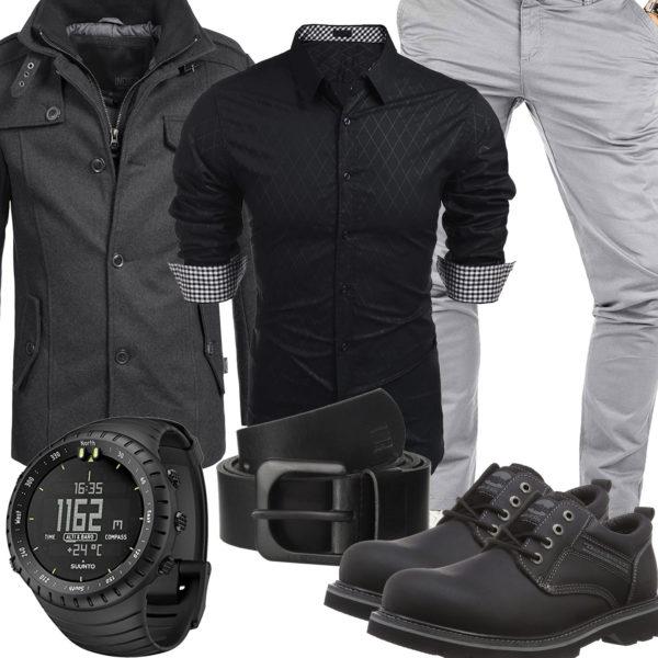 Schwarz-Graues Herrenoutfit mit Hemd, Chino und Uhr