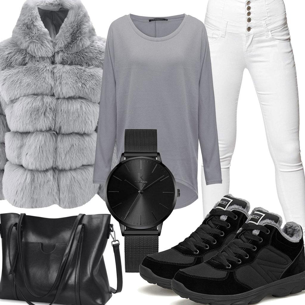 Schwarz-Graues Frauenoutfit mit Plüschmantel und Jeans