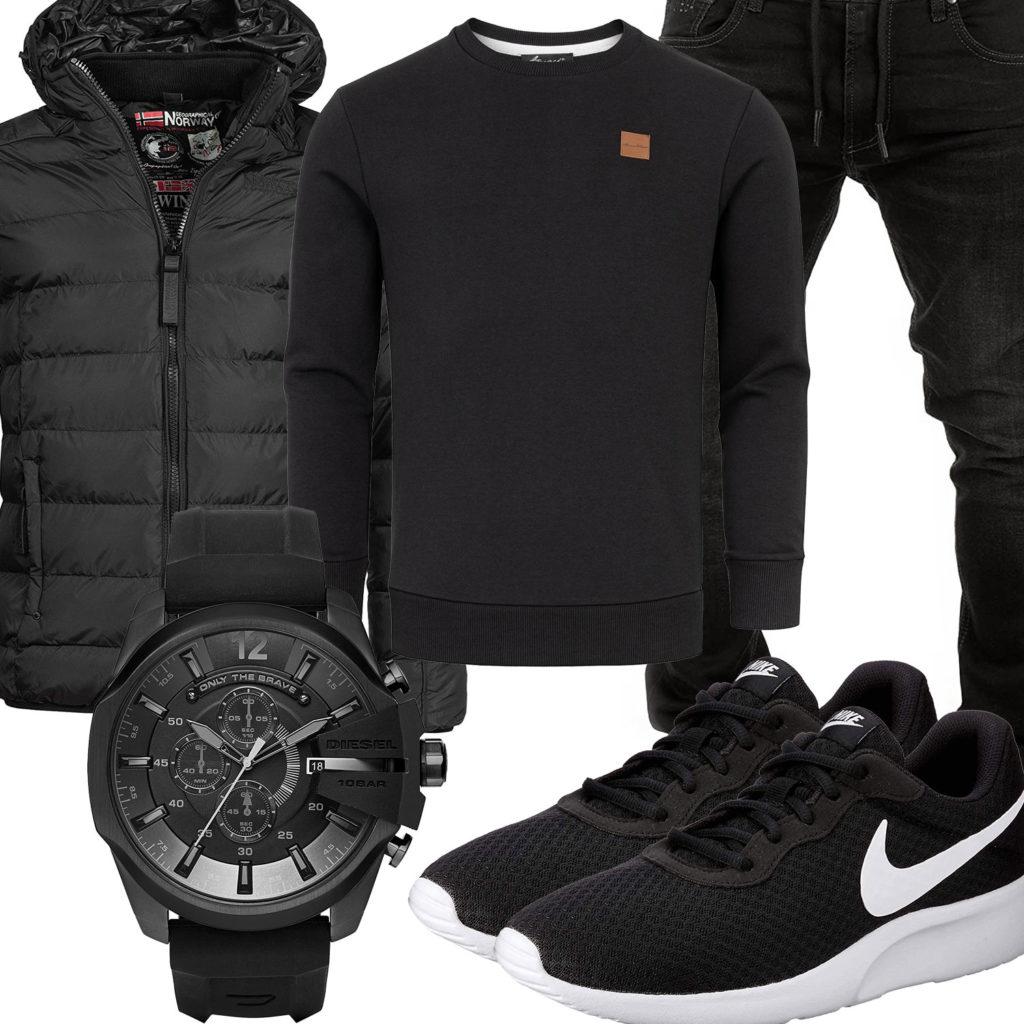 Schwarzes Herrenoutfit mit Nike's und Diesel Uhr