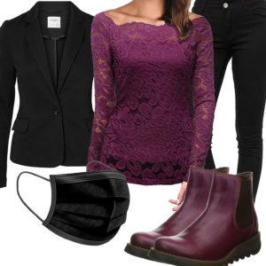 Schwarz-Lila Frauenoutfit mit Bluse, Blazer und Maske