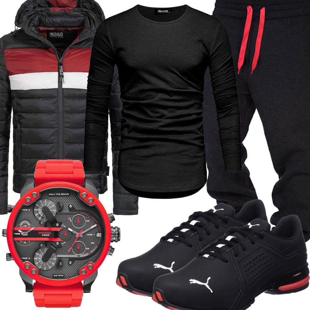 Schwarz-Roter Style mit Longsleeve und Steppjacke