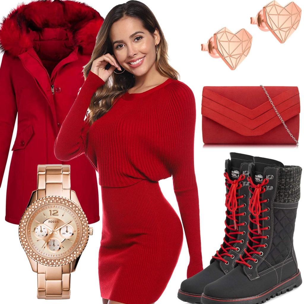Damenoutfit mit rotem Mantel, Strickkleid und Clutch
