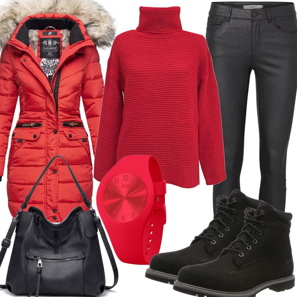 Rot-Schwarzes Frauenoutfit mit Pullover, Jacke und Hose