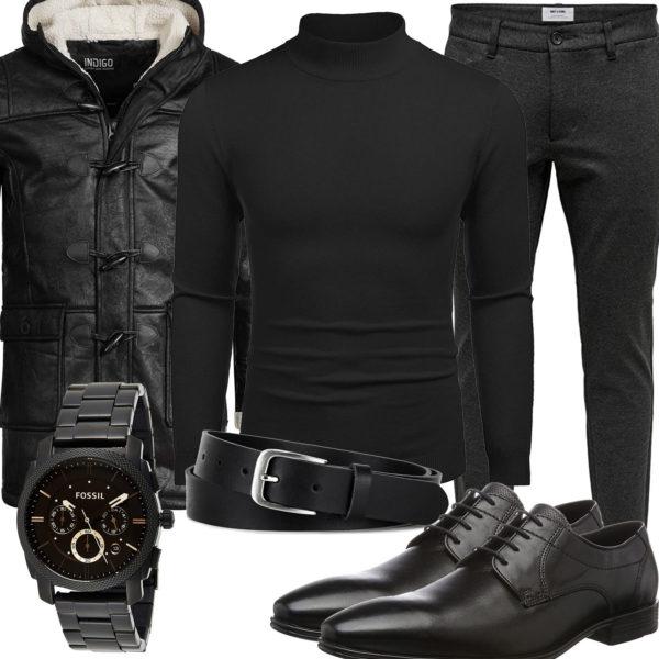 Schwarzes Herrenoutfit mit Pullover, Hose und Parka