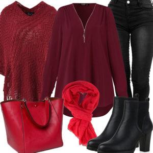 Schwarz-Rotes Damenoutfit mit Schal, Bluse und Jeans
