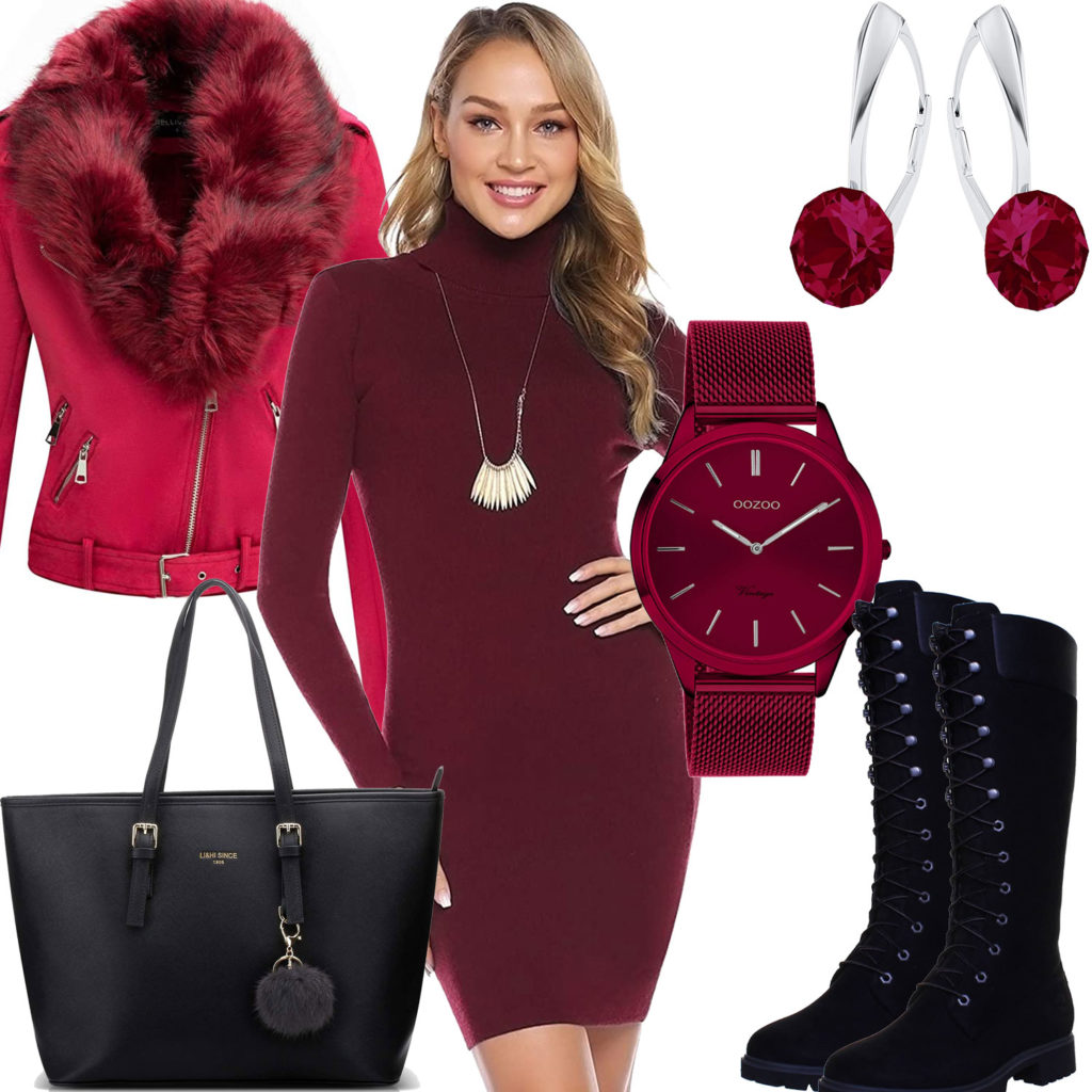 Frauenoutfit mit weinrotem Kleid, Jacke, Ohrringen und Uhr