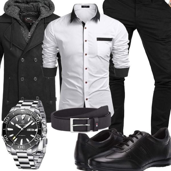 Schwarzes Herrenoutfit mit weißem Hemd