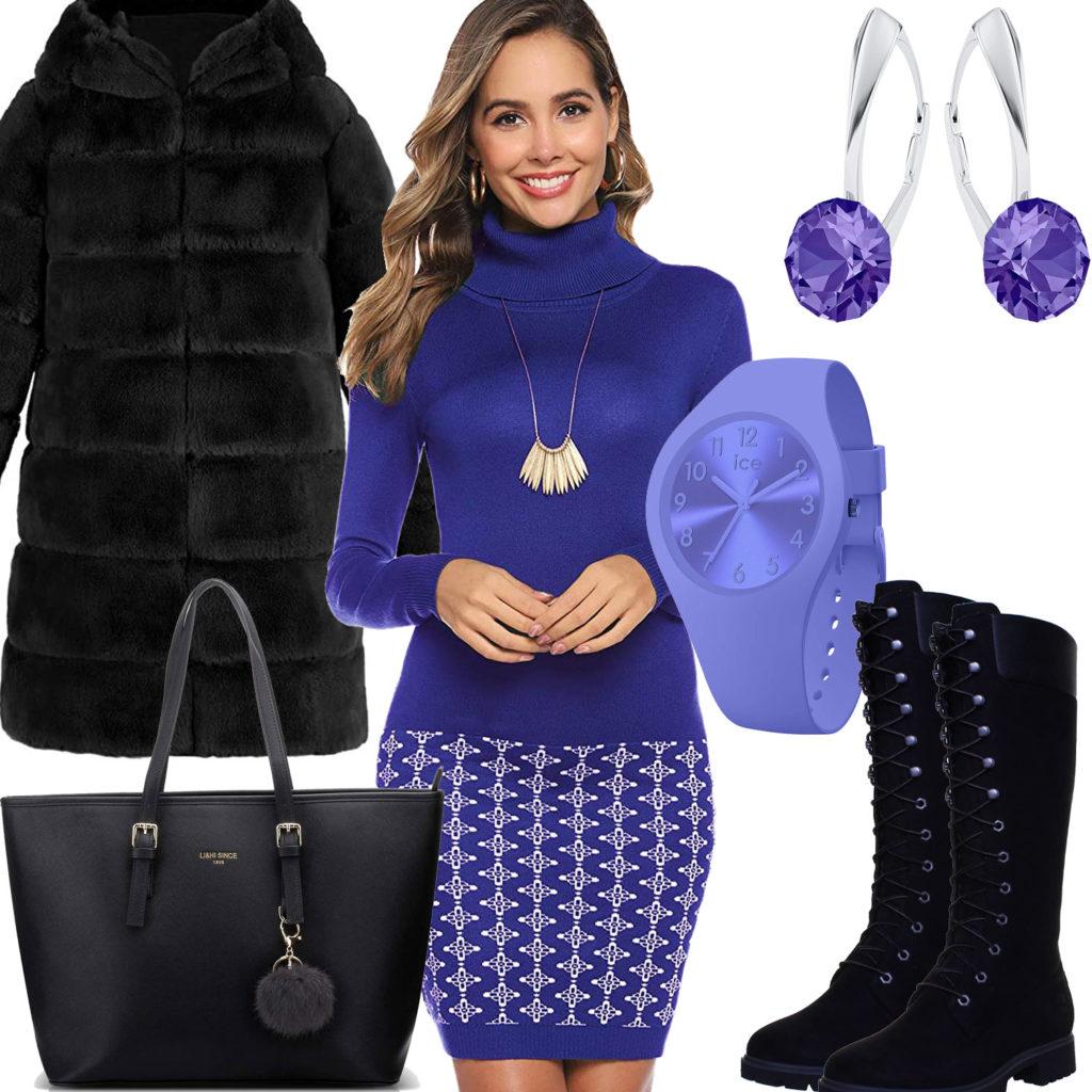 Winter-Frauenoutfit in Violett und Schwarz
