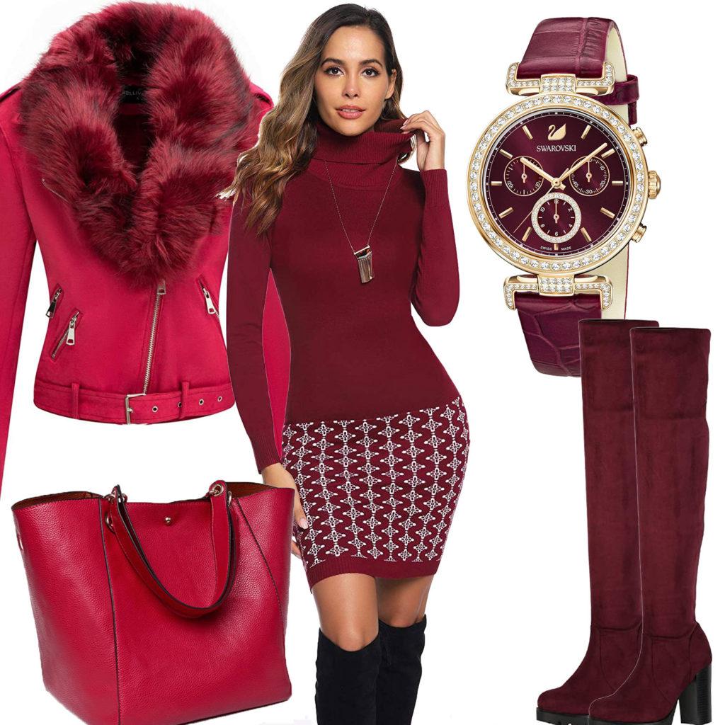 Himbeerrotes Frauenoutfit mit Jacke, Kleid und Uhr