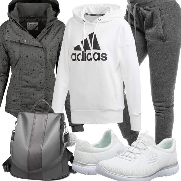 Weiß-Graues Frauenoutfit mit Hoodie, Sneakern und Jacke