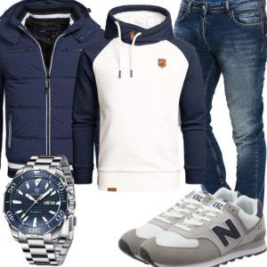Blau-Weißes Herrenoutfit mit Hoodie, Steppjacke und Jeans